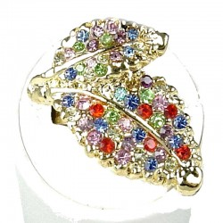 Fancy Dressy Statement Costume Jewellery, Fashion Women Gift, Multi Colour Diamante Double Leaf Wrap Gold Ring