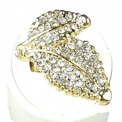 Fancy Dressy Statement Costume Jewellery, Fashion Women Gift, Clear Diamante Double Leaf Wrap Gold Ring