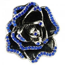 Bold Statement Dressy Costume Jewellery, Women Gift, Royal Blue Diamante Chunky Rose Flower Ring