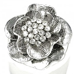 Fancy Dressy Statement Costume Jewellery, Fashion Women Girls Gift, Clear Diamante Silver Peony Flower Ring