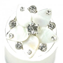 Bold Statement Costume Jewelery, Fashion Women Girls Gift, White Mother of Pearl MOP Clear Diamante Flower Ring