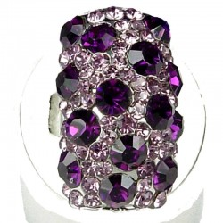 Fancy Dressy Bold Statement Costume Jewellery, Fashion Women Gift, Purple Diamante Dalmatian Round Rectangle Cocktail Ring