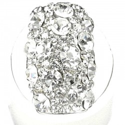 Fancy Dressy Statement Costume Jewellery, Fashion Women Gift, Clear Diamante Round Rectangle Cocktail Ring