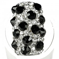 Fancy Dressy Statement Costume Jewellery, Fashion Women Gift, Black & Clear Diamante Dalmatian Round Rectangle Cocktail Ring