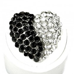 Fancy Dressy Statement Costume Jewellery, Fashion Women Girls Gift, Black & Clear Diamante Heart Cocktail Ring
