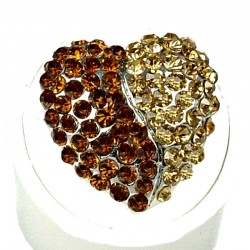 Fancy Dressy Statement Costume Jewellery, Fashion Women Girls Gift, Brown & Gold Diamante Heart Cocktail Ring