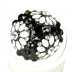Bold Costume Jewellery, Fashion Women Girls Gift, Black & White Diamante Enamel Marigold Ball Flower Statement Ring