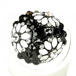 Bold Costume Jewellery, Fashion Women Girls Gift, Black & White Diamante Enamel Marigold Ball Flower Statement Ring