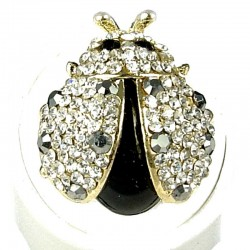 Cool Dressy Costume Jewellery, Fashion Women Girls Gift, Black Diamante Gold Ladybird Cute Statement Ring