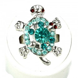 Aqua Blue Diamante Two Cute Tortoise Ring