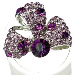 Fancy Bold Statement Costume Jewellery, Fashion Women Gift, Purple Diamante Glory Ribbon Cocktail Ring