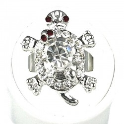 Clear Diamante Two Cute Tortoise Ring