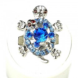 Fun Loving Statement Costume Jewellery, Fashion Women Girls Birthday Gift, Royal Blue Diamante Two Cute Tortoise Ring