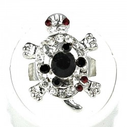 Black Clear Diamante Two Cute Tortoise Ring