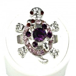 Purple Lilac Diamante Two Cute Tortoise Ring