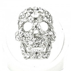 Fun Statement Hip hop Bling Costume Jewellery, Cool Fashion Women Girls Gift, Clear Diamante Skull Ring