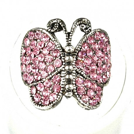 Fun Loving Cute Statement Costume Jewellery, Fashion Women Girls Gift, Pink Diamante Admiral Butterfly Statement Ring