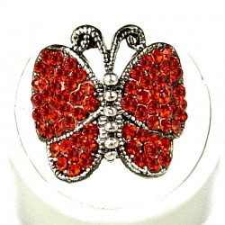 Red Diamante Admiral Butterfly Statement Ring