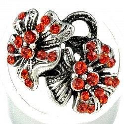Bold Statement Costume Jewellery, Fashion Women Girls Birthday Gift, Red Diamante Twin Flower Ring