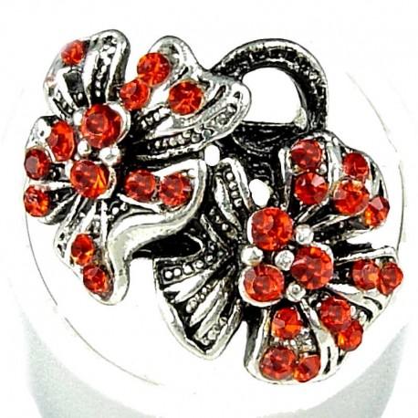 Bold Statement Costume Jewellery, Fashion Women Girls Birthday Gift, Red Diamante Twin Flower Ring