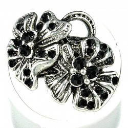 Bold Statement Costume Jewellery, Fashion Women Girls Birthday Gift, Black Diamante Twin Flower Ring