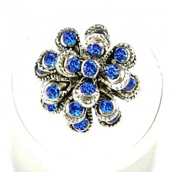 Chic Costume Jewellery, Fashion Women Girls Birthday Gift, Royal Blue Diamante Chrysanthemum Flower Ring