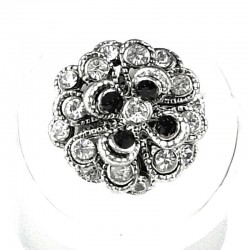 Chic Costume Jewellery, Fashion Women Girls Birthday Gift, Black & Clear Diamante Chrysanthemum Flower Ring