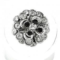 Chic Costume Jewellery, Fashion Women Girls Birthday Gift, Black & Clear Diamante Chrysanthemum Flower Ring