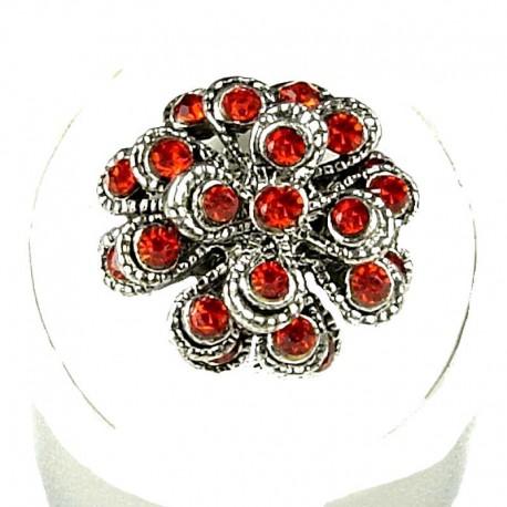 Chic Costume Jewellery, Fashion Women Girls Birthday Gift, Red Diamante Chrysanthemum Flower Ring