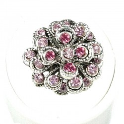 Chic Costume Jewellery, Fashion Women Girls Birthday Gift, Pink Diamante Chrysanthemum Flower Ring
