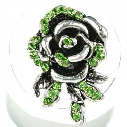 Feminine Costume Jewellery, Fashion Women Girls Birthday Gift, Green Diamante Rose Flower Ring