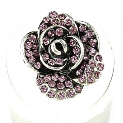 Chic Feminine Costume Jewellery, Fashion Women Girls Birthday Gift, Lilac Diamante Rose Flower Ring