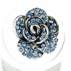Chic Feminine Costume Jewellery, Fashion Women Girls Birthday Gift, Blue Diamante Rose Flower Ring