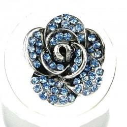 Chic Feminine Costume Jewellery, Fashion Women Girls Birthday Gift, Blue Diamante Rose Flower Ring