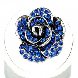 Feminine Costume Jewellery, Fashion Women Girls Birthday Gift, Royal Blue Diamante Rose Flower Ring