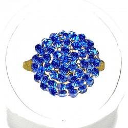 Royal Blue Diamante Pave 3D Half Ball Ring