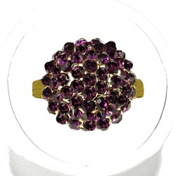 Purple Diamante Pave 3D Half Ball Ring