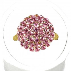 Cool Fashion Costume Jewellery, Women Girls Gift, Pink Diamante Pave 3D Half Ball Dress Ring
