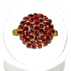 Burgundy Diamante Pave 3D Half Ball Ring