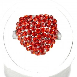 Red Diamante Pave Puffy Heart Ring
