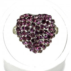 Cool Fashion Costume Jewellery, Women Girls Gift, Purple Diamante Pave Puffy Heart Dress Ring