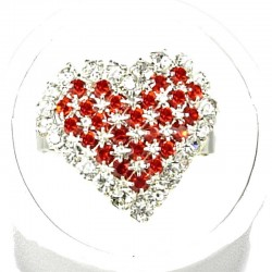 Red Diamante Pattern Heart Ring