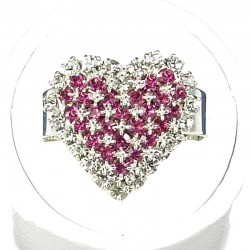 Love Fashion Costume Jewellery Dress Rings, Women Girls Gift, Fuchsia Diamante Pattern Heart Ring