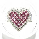 Fuchsia Diamante Pattern Heart Ring