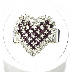 Love Fashion Costume Jewellery Dress Rings, Women Girls Gift, Purple Diamante Pattern Heart Ring