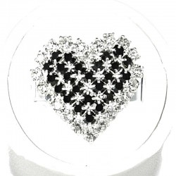 Love Fashion Costume Jewellery Dress Rings, Women Girls Gift, Black Diamante Pattern Heart Ring