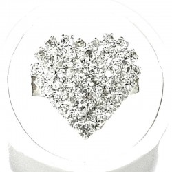 Clear Diamante Pave Heart Ring