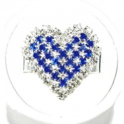Love Fashion Costume Jewellery Dress Rings, Women Girls Gift, Royal Blue Diamante Pattern Heart Ring