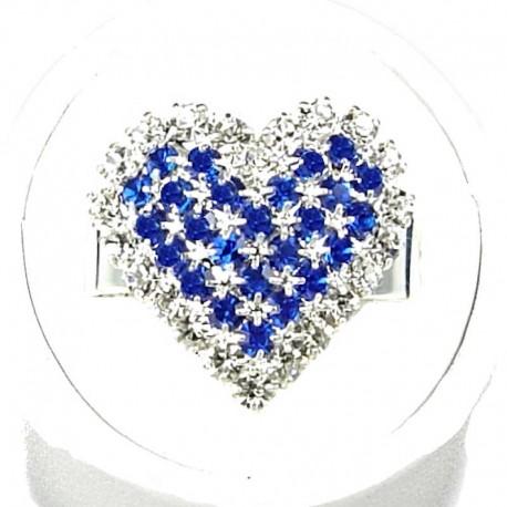 Love Fashion Costume Jewellery Dress Rings, Women Girls Gift, Royal Blue Diamante Pattern Heart Ring