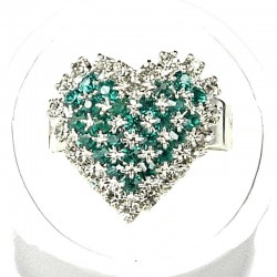 Green Diamante Pattern Heart Ring